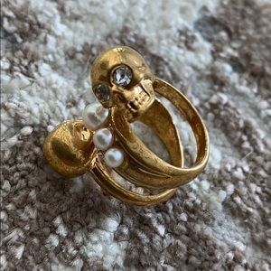 Alexander McQueen gold double spiral skull ring